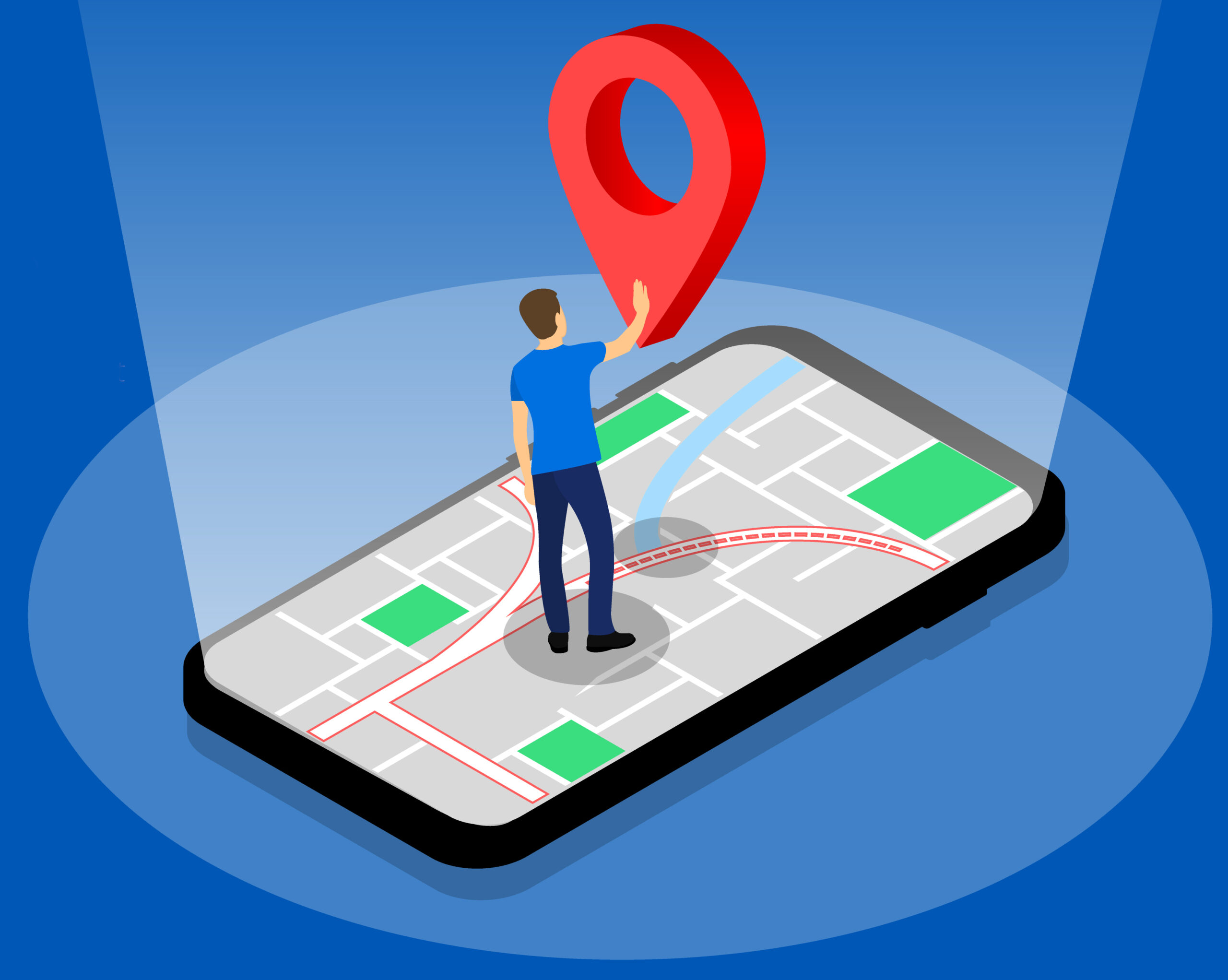 Location GPS navigation, Character on the phone. Isometric